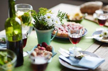 food on served table