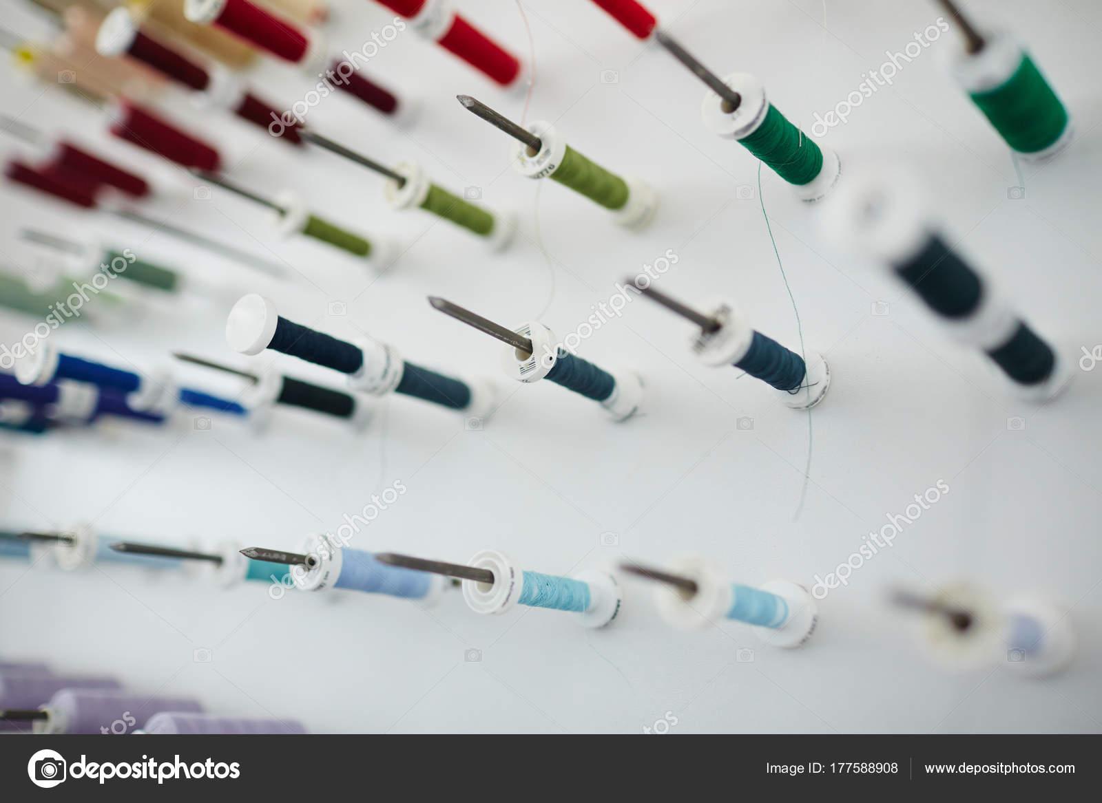 Composición Imagen Fondo Closeup Bobinas Coser Colorido Stand ...
