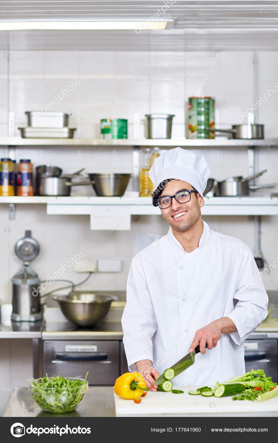 Happy Chef Working Kitchen Restaurant — Stock Photo © pressmaster ...