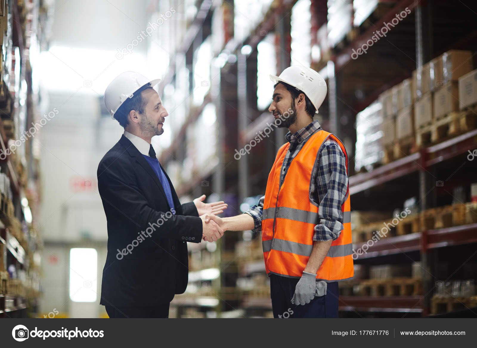 Business Partner Greeting Warehouse Worker Large Scale