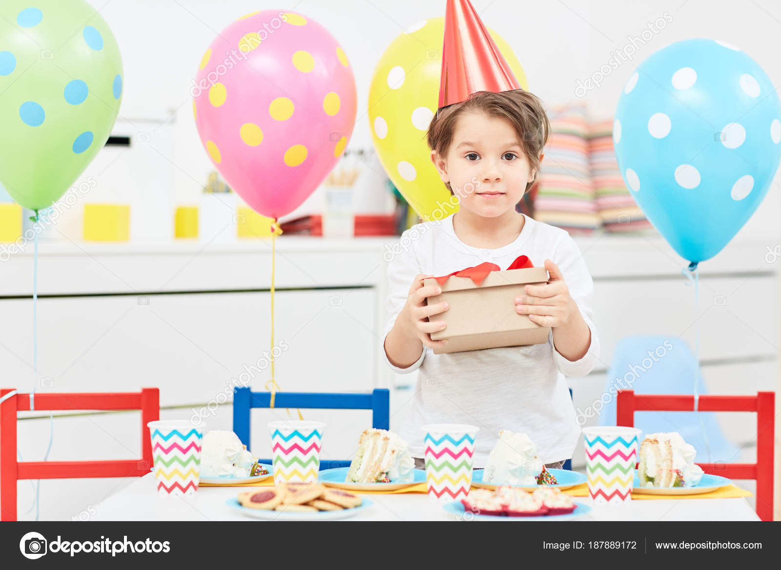Young Boy Holding Box Birthday Gift Celebration Kindergarten Stock Photo