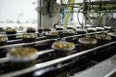 Řádky z plastových nádob s čerstvým mořských řas salát na stěhování výrobní linky