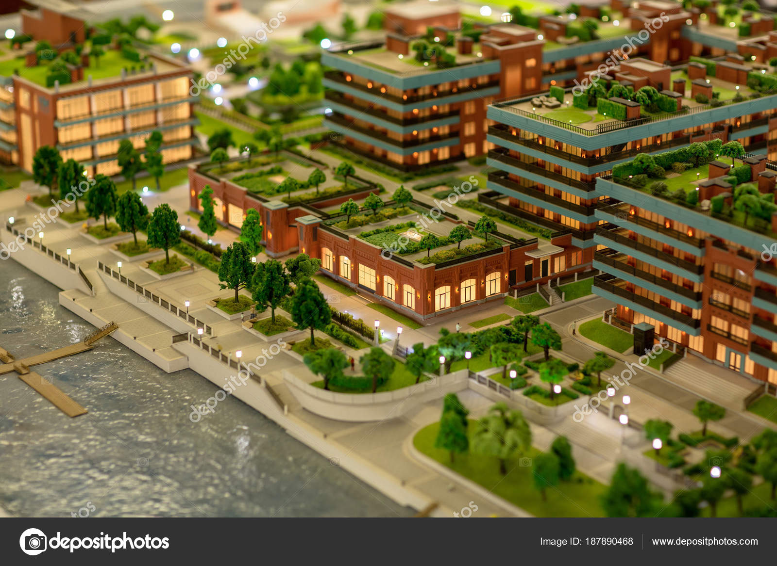 Layout Design New City Many Buildings Parks Roof Gardens — Stock ...