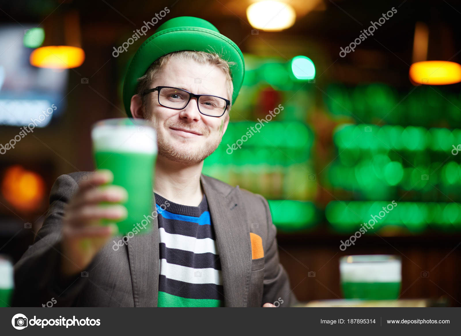 d6a89d719a7 Young Man Green Hat Cheering Glass Beer Modern Pub — Stock Photo ...
