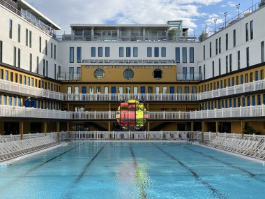 France, Paris, febuary 22, 2020,  luxury swimming pool in Molitor hotel MGallery by Sofitel hotel in Paris XVI, with a artiste Amelie Lengrand exibition