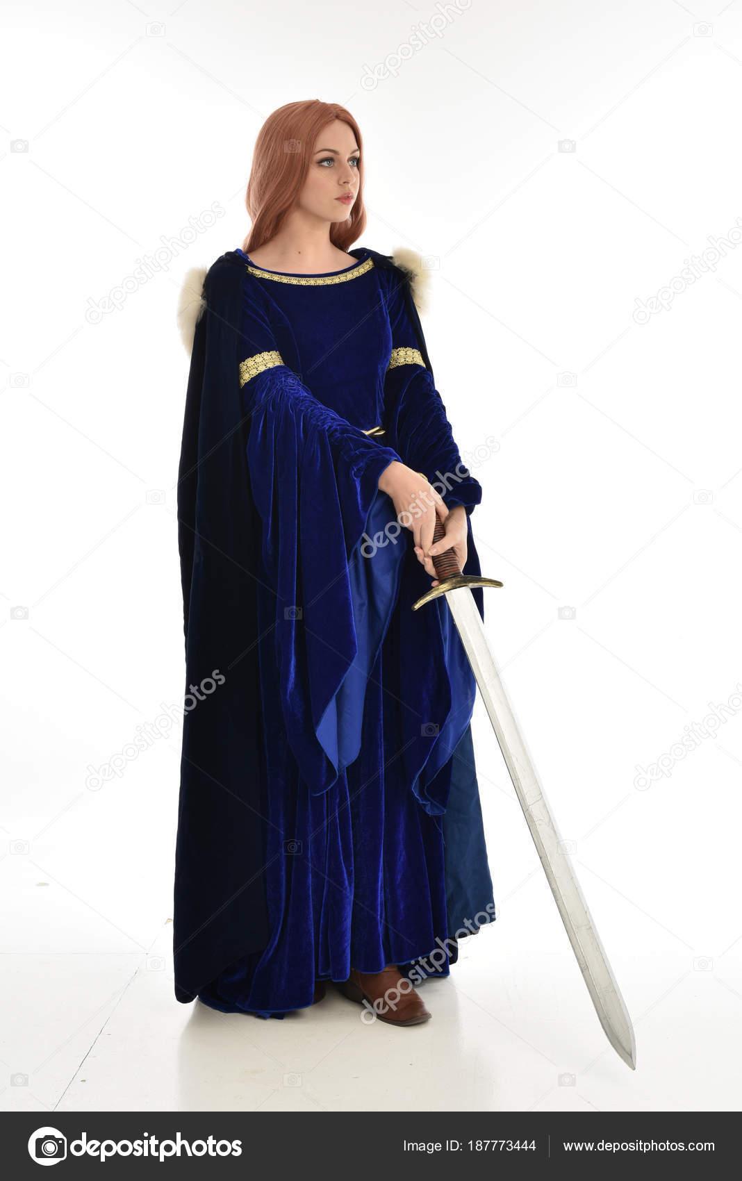 Full Length Portrait Woman Long Hair Wearing Blue Velvet Medieval ...