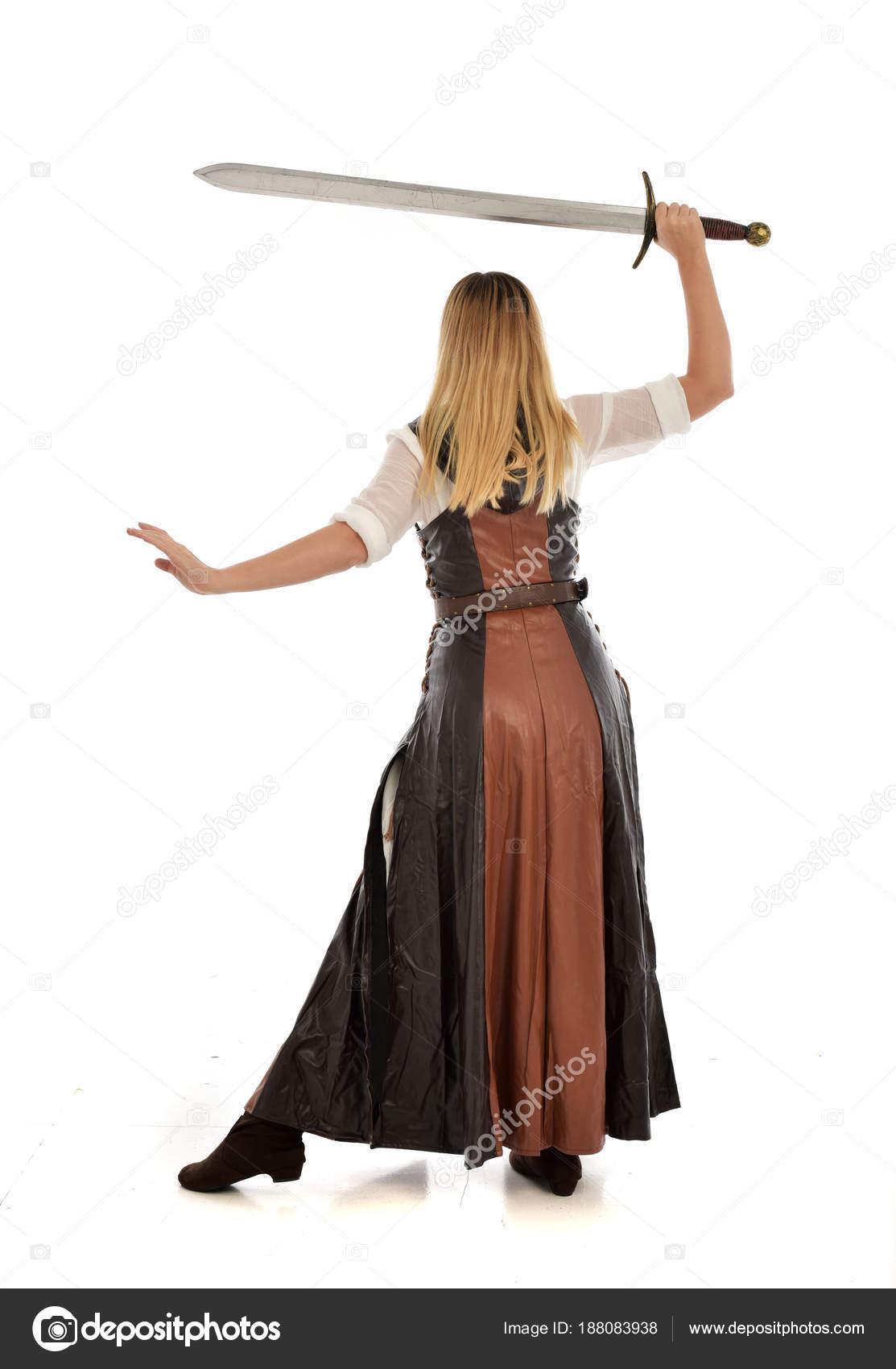 Full Length Portrait Girl Wearing Brown Fantasy Costume