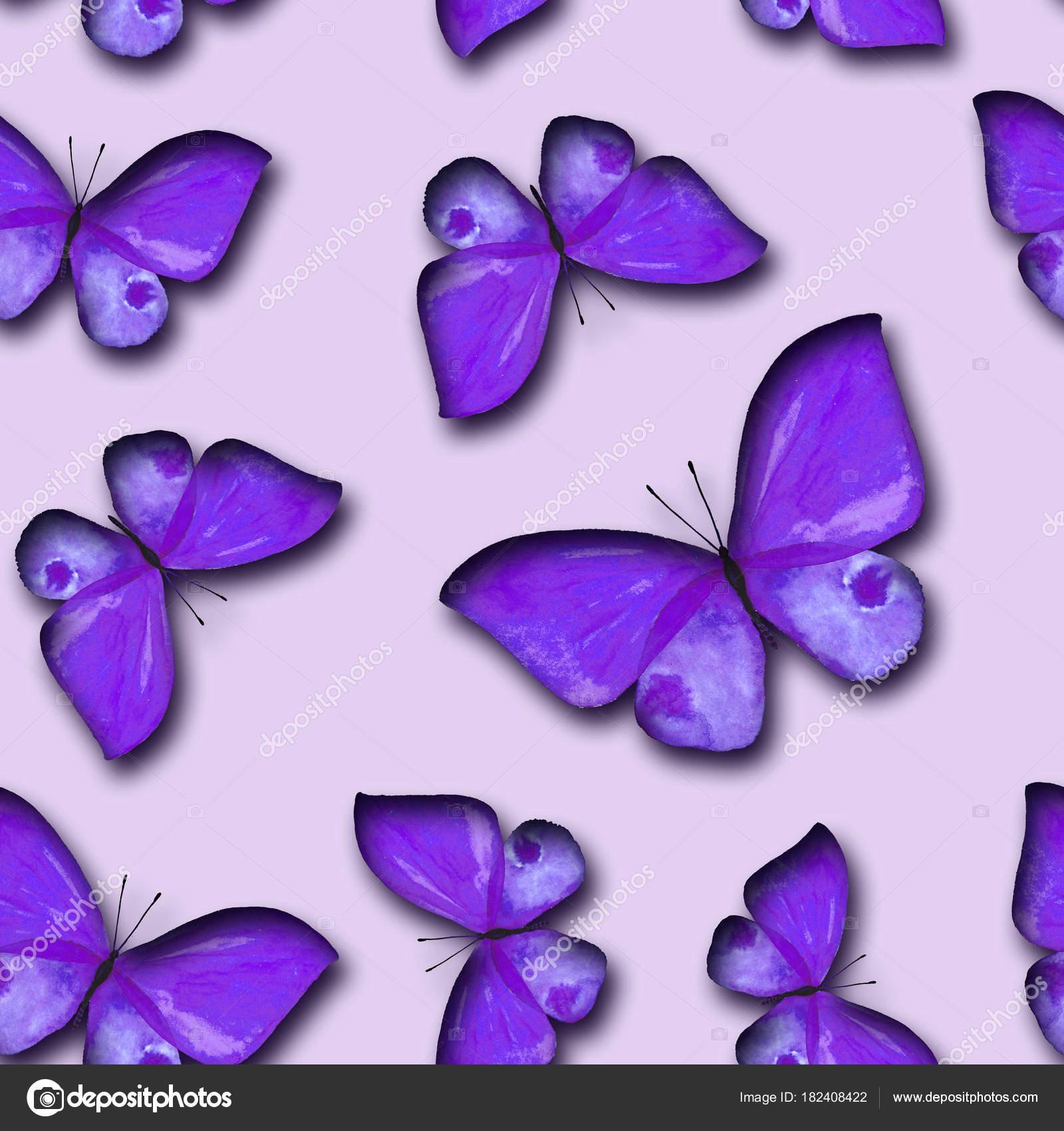 Acuarela De Patrones Sin Fisuras De Mariposas Pintadas Fotos De