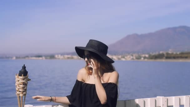 Woman Traveling Talking Phone Cute Girl Smile Background Sea Ocean