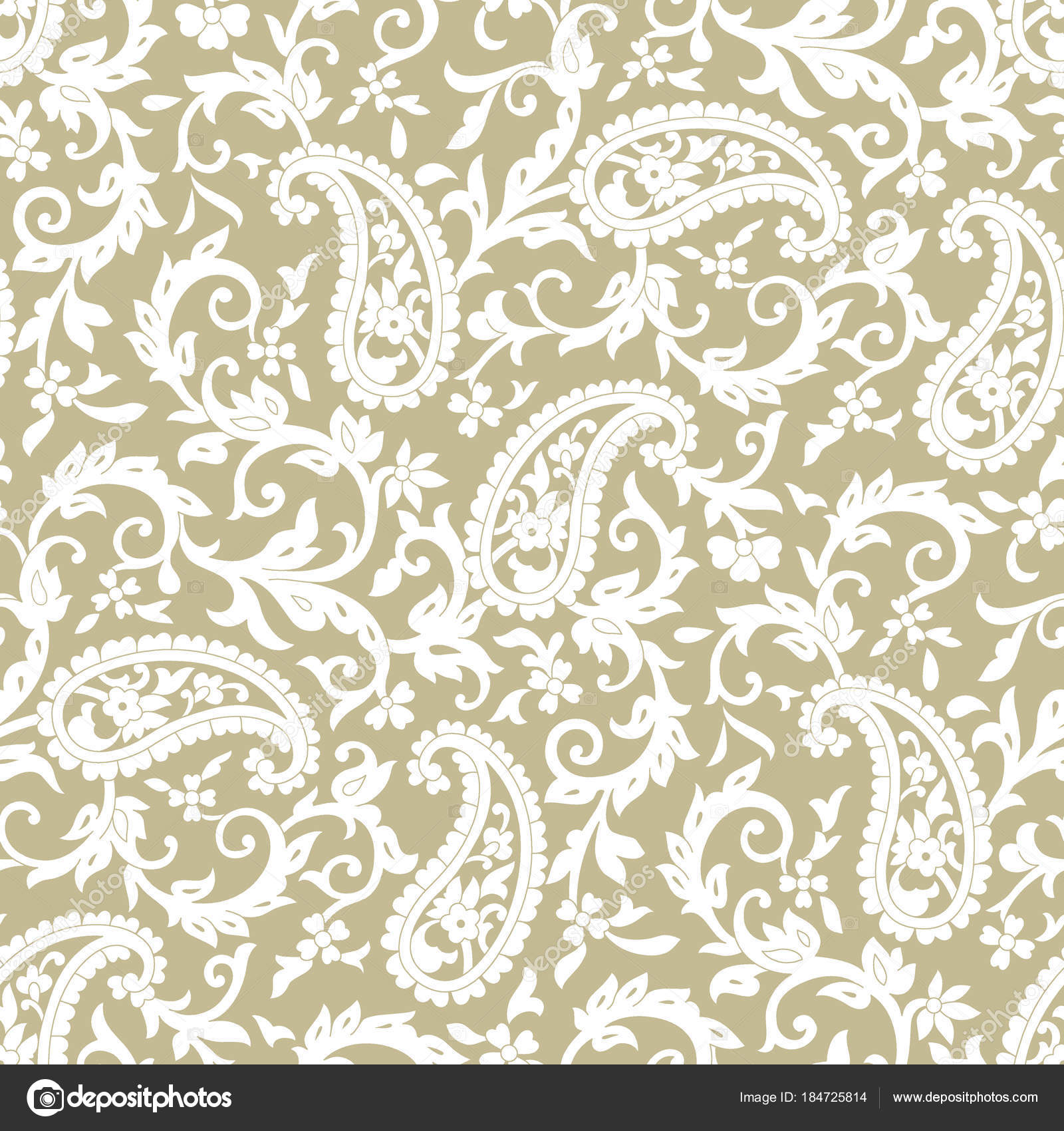 Seamless Traditional Indian Paisley Pattern Gold Background Stock Photo