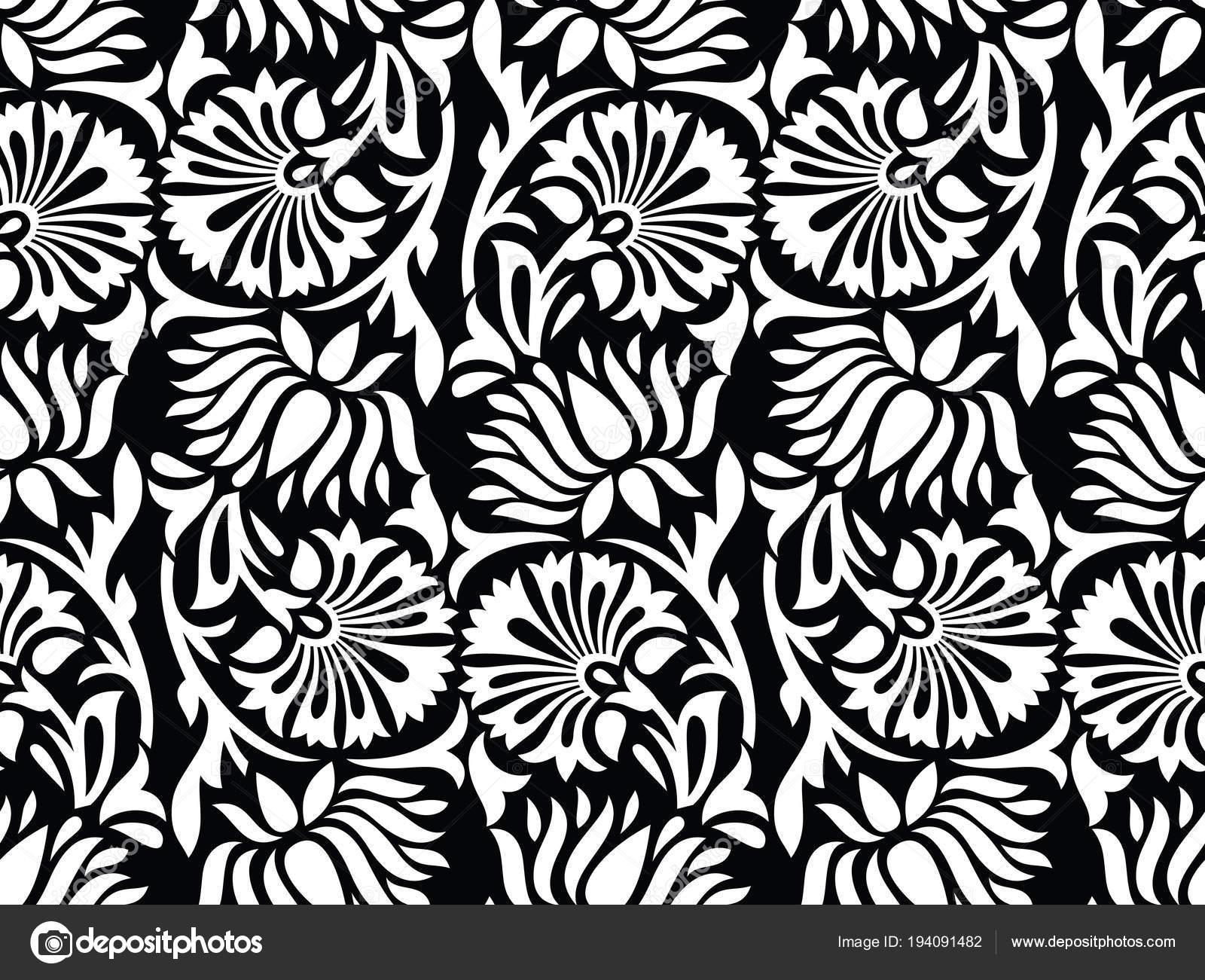 Seamless black and white ornamental lotus flower pattern stock seamless black and white ornamental lotus flower pattern stock vector izmirmasajfo