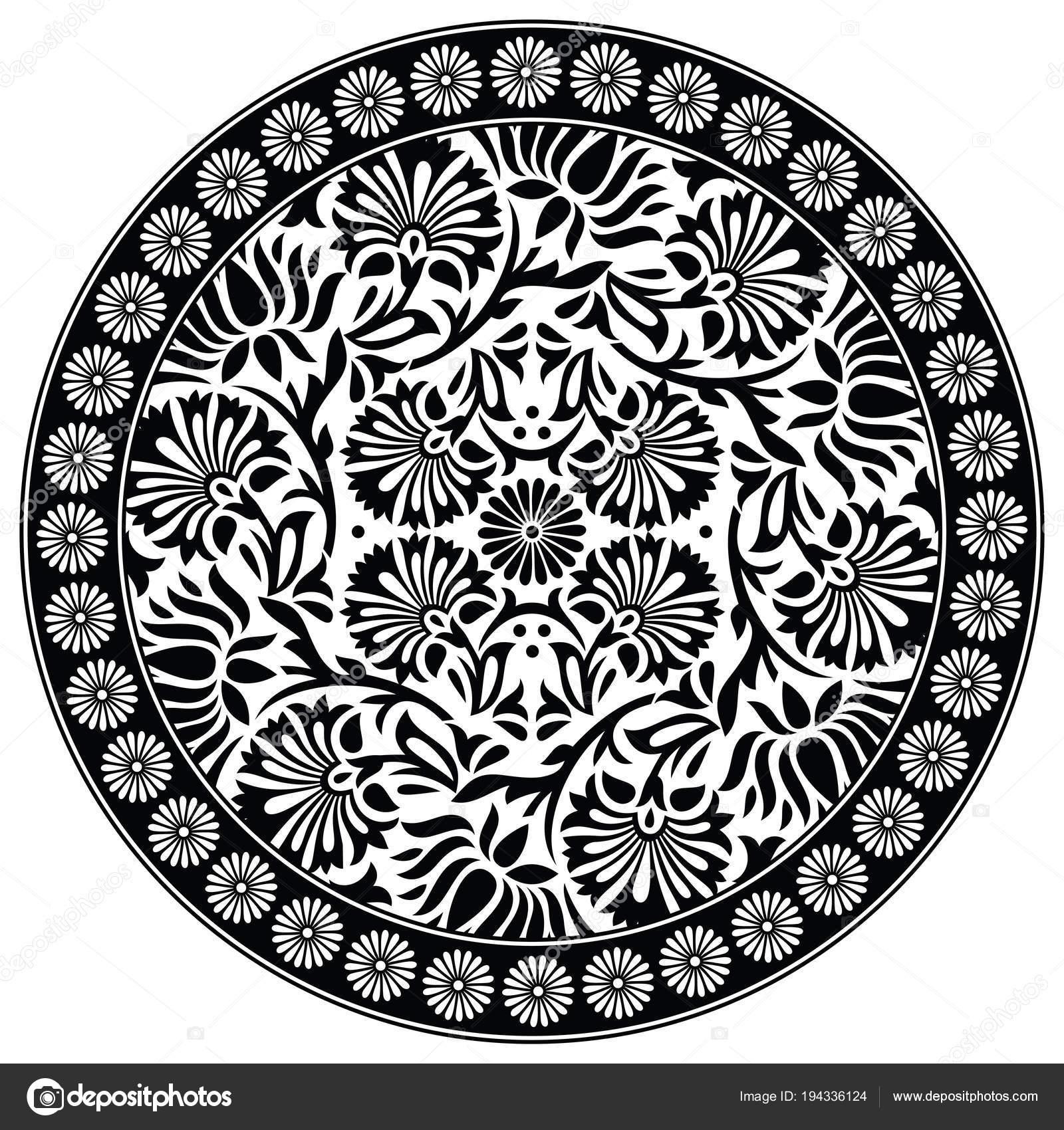 Motif De Fleur De Lotus Noir Et Blanc Image Vectorielle