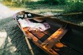 Fotografie beautiful wedding  decoration of wooden boat