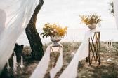 Fotografia decorazione di giorno bellissimo matrimonio per il tempo libero del lago