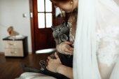 Fotografie Junge schöne Braut mit graue Katze im Arm