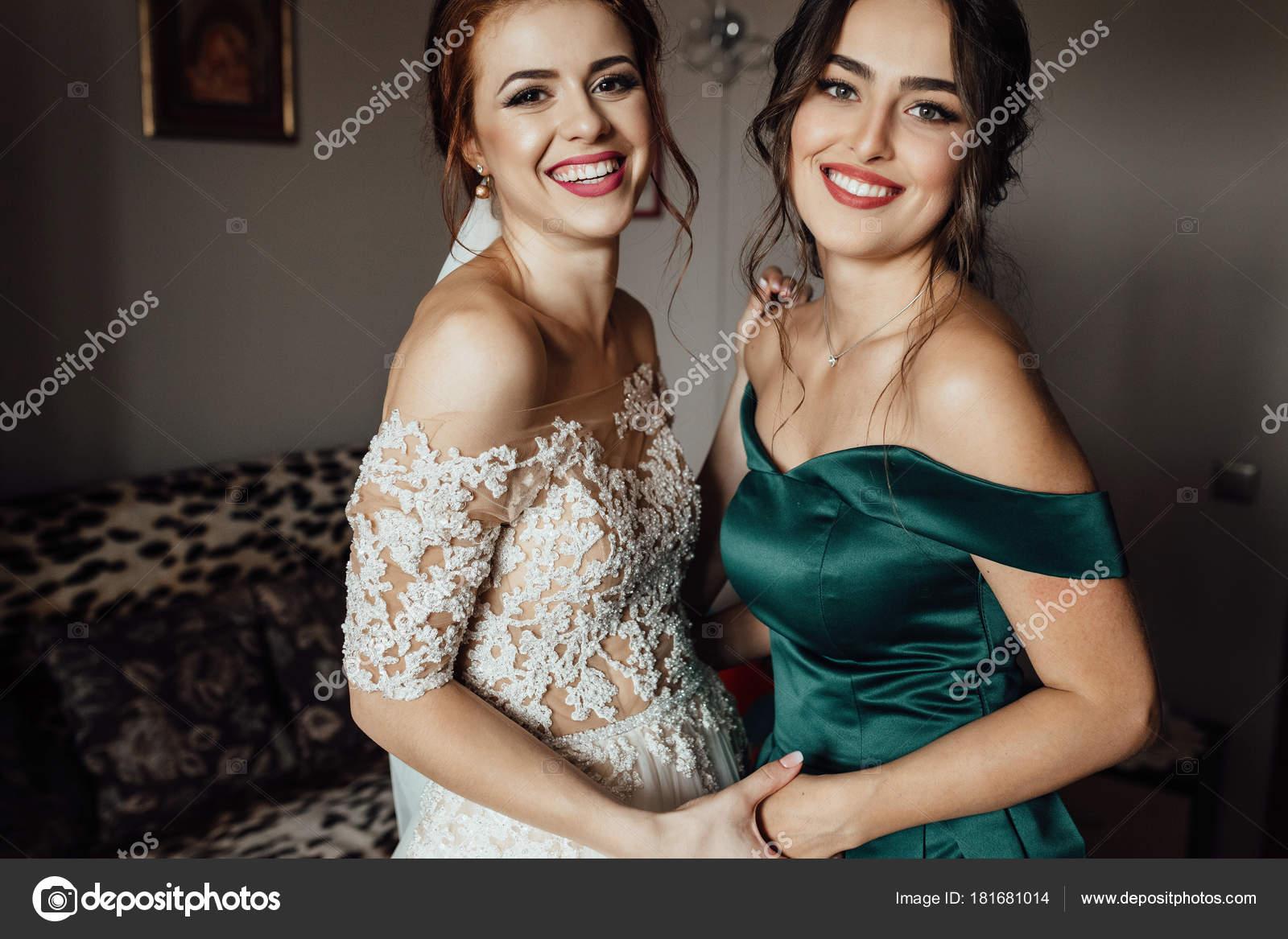 Beautiful Bride Bridesmaid Posing Room Wedding Ceremony Stock