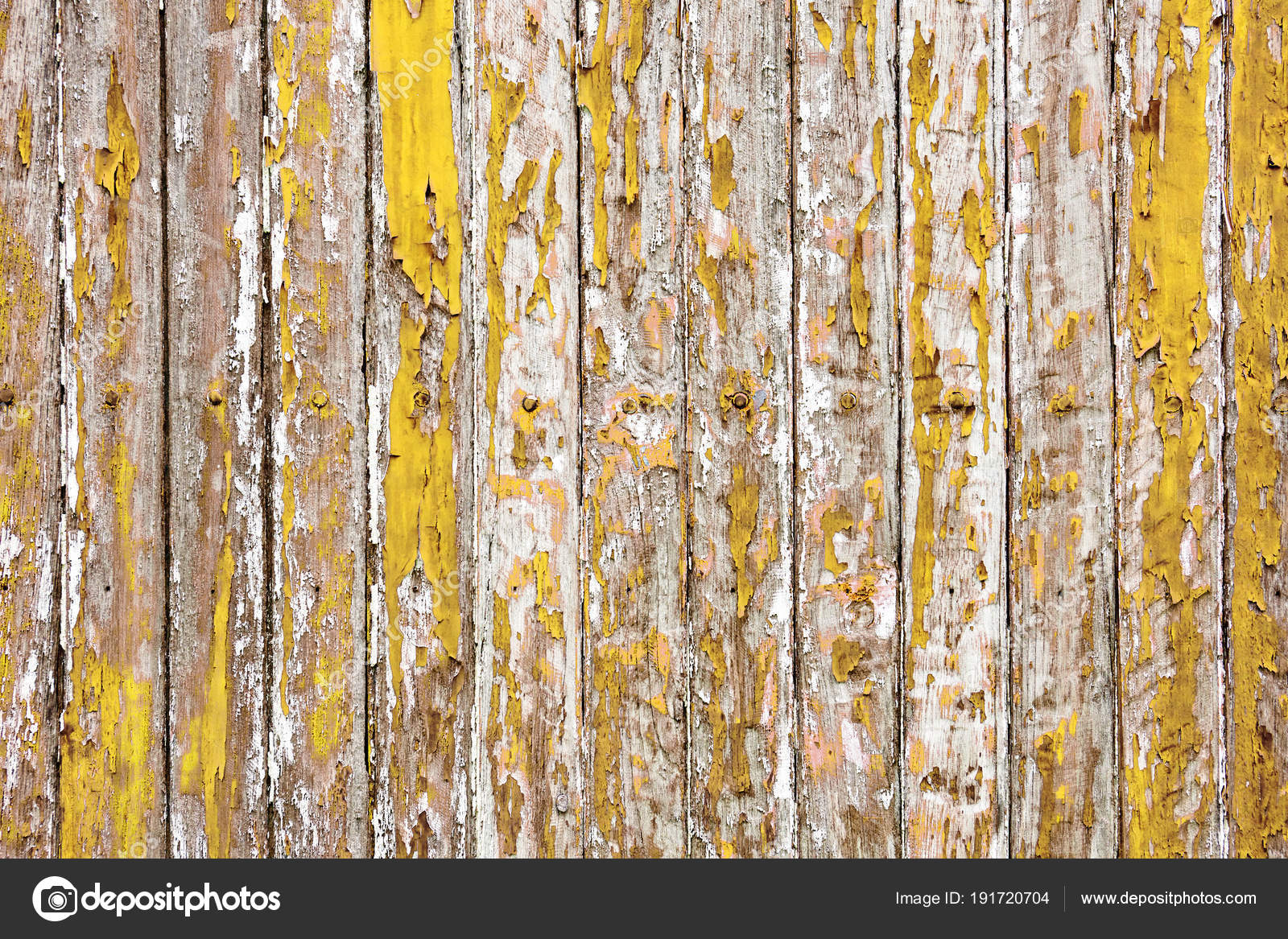 The Old Wooden Wall Painted With Yellow Color Cracking Peeling And Revealed Spike Nail Rustic Wood Texture Photo By Mrseksan