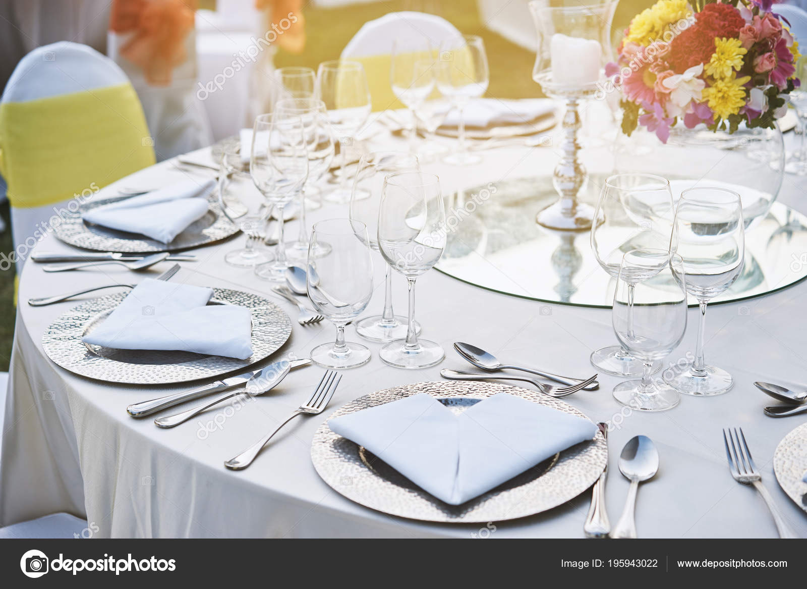 The closeup shot of wedding reception dinner table setup with the empty glasses of wine and water stainless plate spoon fork and napkin The candle and ... & Closeup Shot Wedding Reception Dinner Table Setup Empty Glasses Wine ...