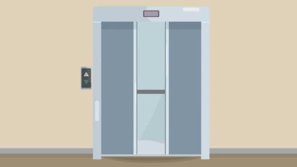 Dveře výtahu se otevřou. Otevřít dveře je výtah. Kovové dveře hladce otevřené a zavřené. Animace stříbrného výtahu ve videu 4k.