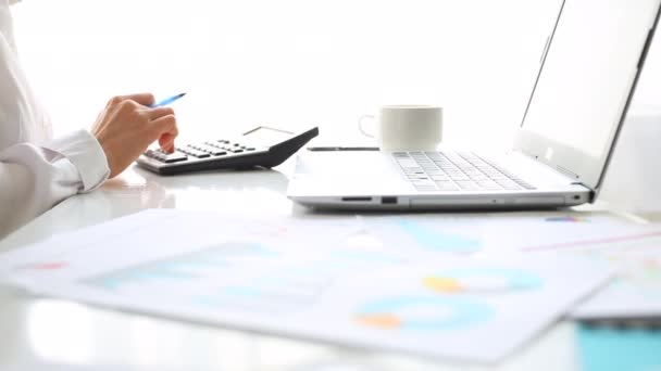 The accountant works on a calculator and prepares a financial analytical report. Business Research Data Economy Statistics Concept