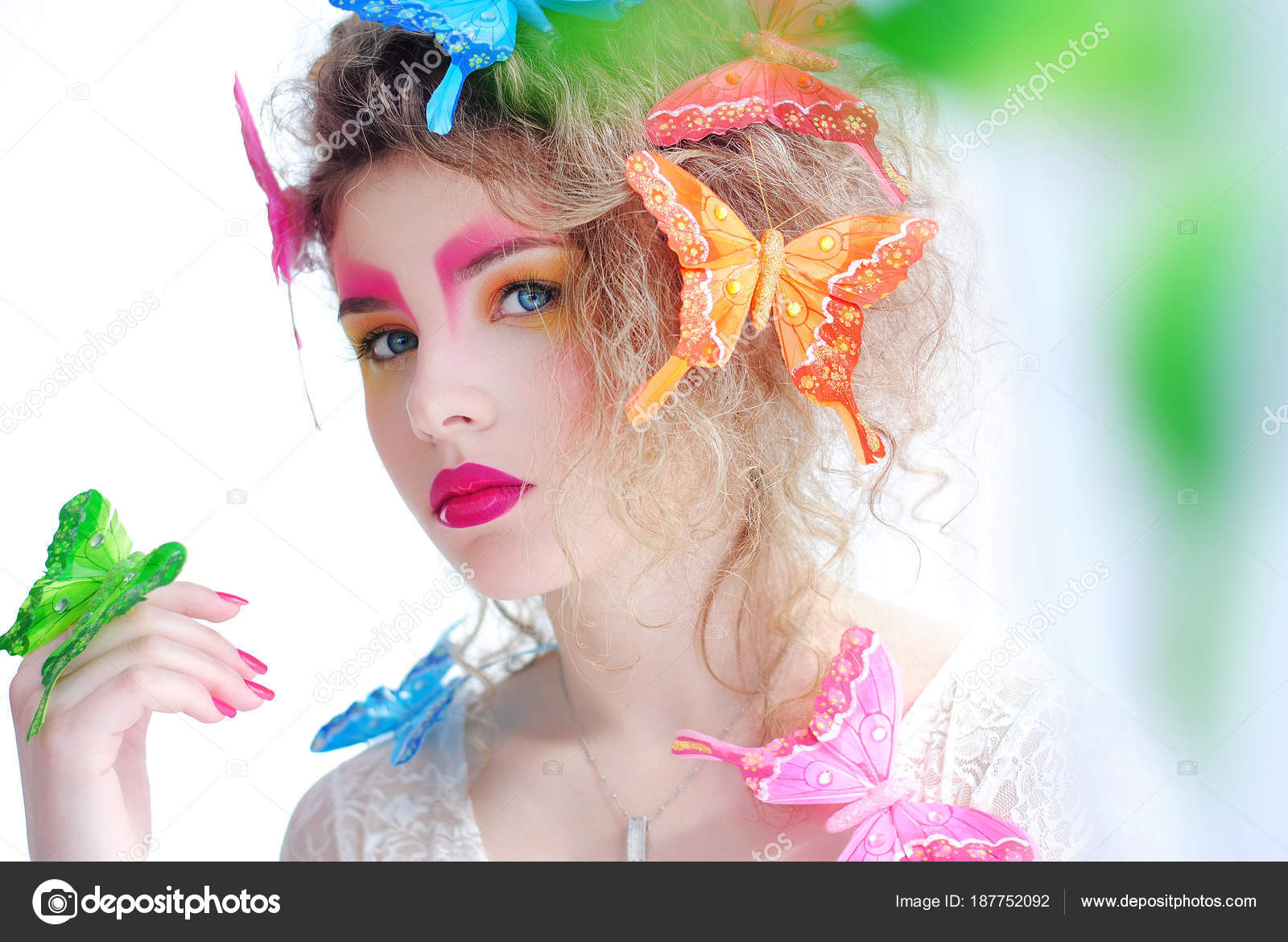 Bright Makeup Girl Her Face Portrait Girl White Background Butterflies —  Stock Photo c35f83104