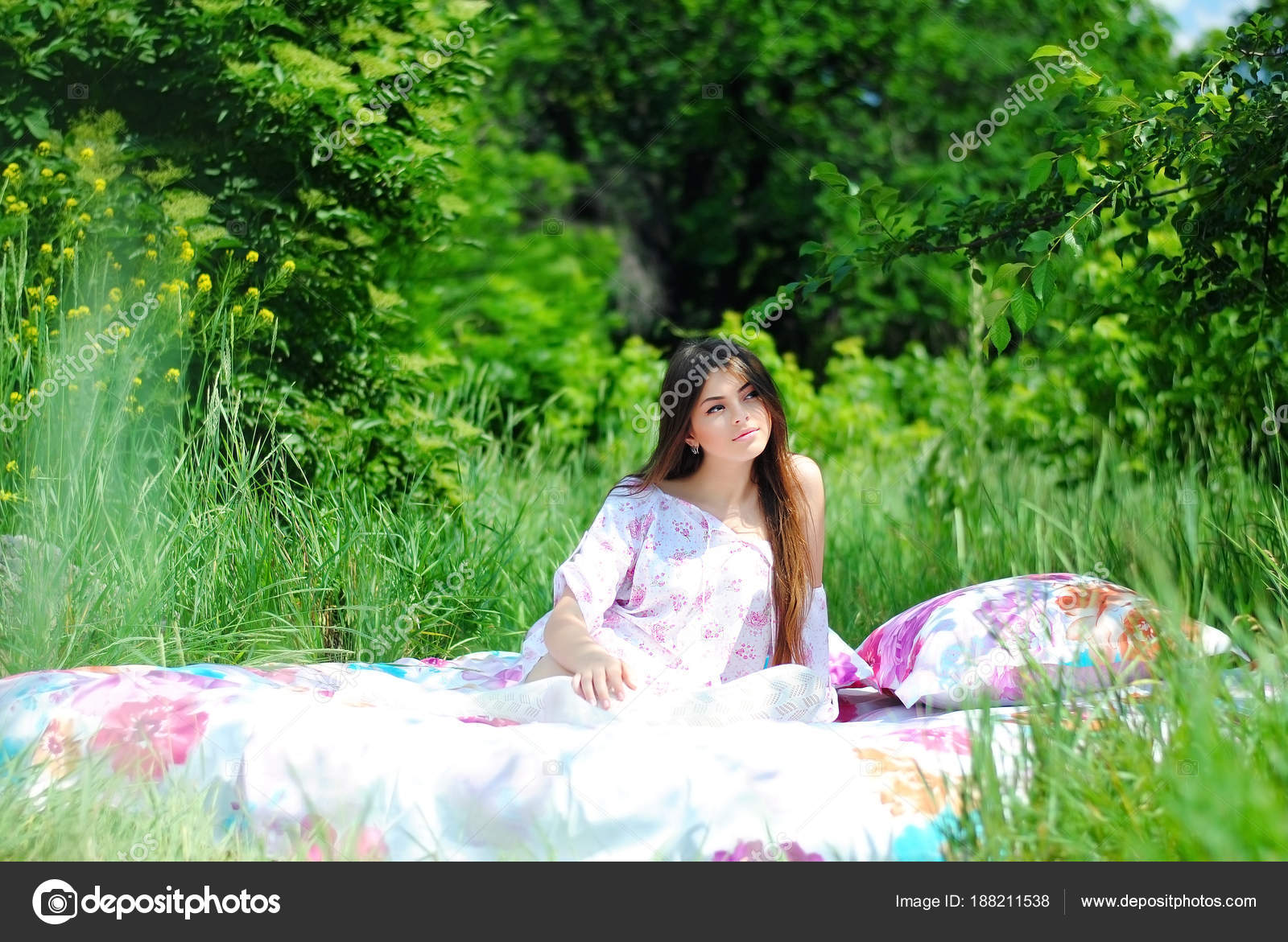 Beautiful girl bed flowers bed nature lady white dress bed stock beautiful girl on the bed with flowers bed in nature lady in white dress on bed in forest a beautiful way of life photo by olhasafronova izmirmasajfo