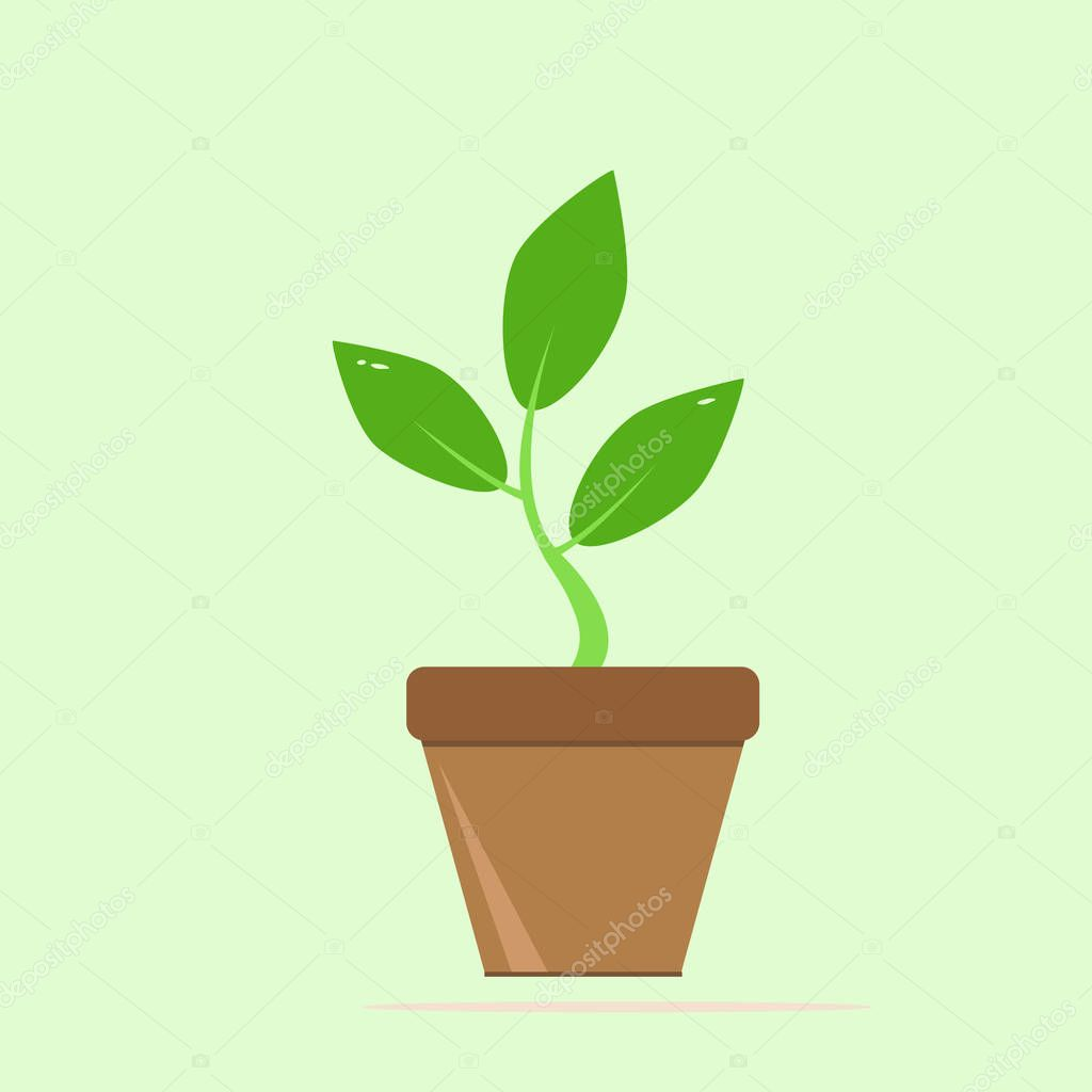 Seedling silhouette in flowerpot on white background. icon