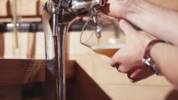 Barkeeper Hände beim Reinigen eines Glasbarmanns an der Bar