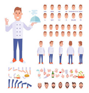 Chef character creation set with various views, face emotions, lip sync, poses and gestures. Front, side, back, 3/4 view. Cartoon style,  flat vector illustration.
