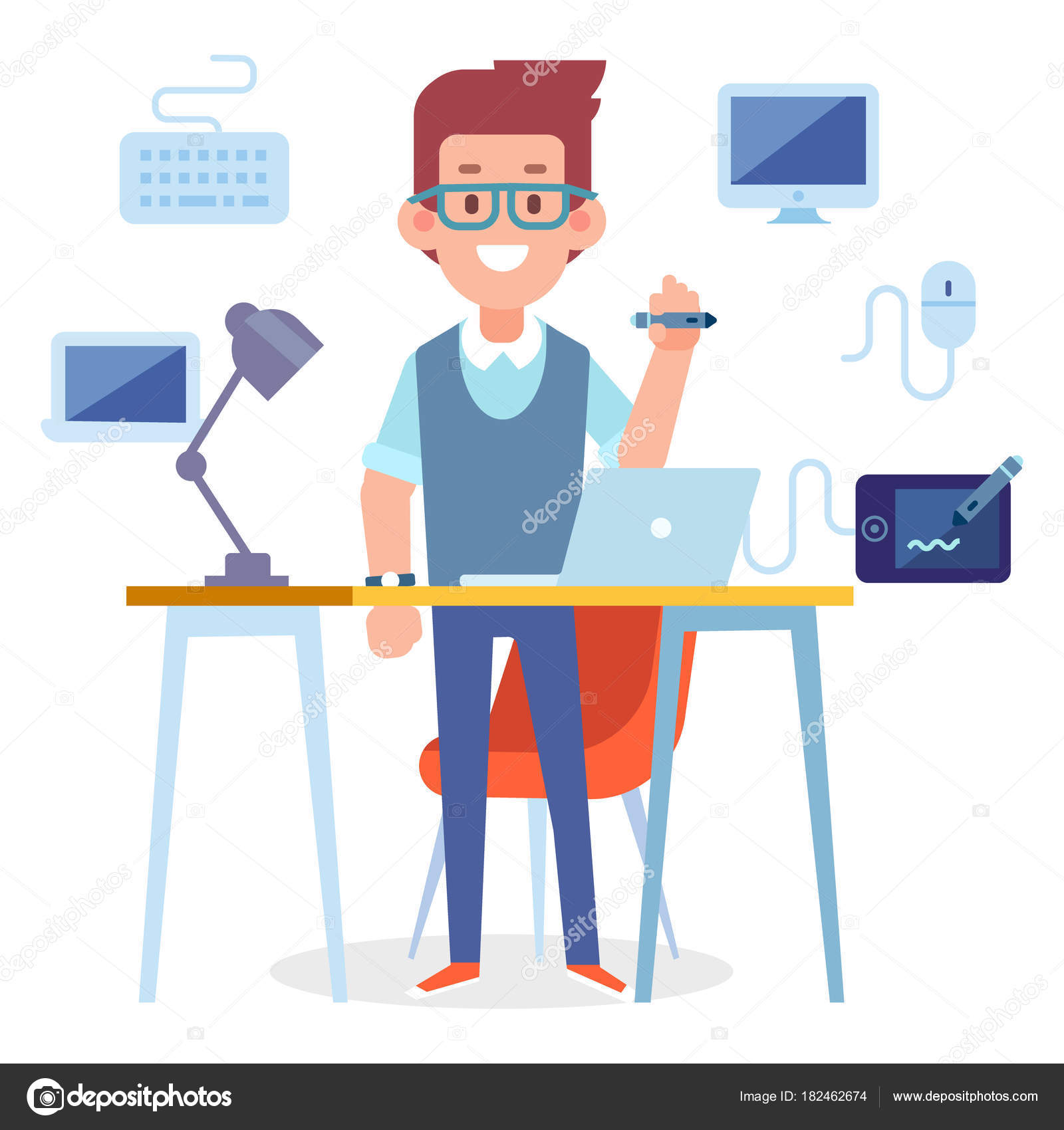 Designer Vector Character Cartoon Style Flat Illustration Stock Vector C Oksana L 182462674