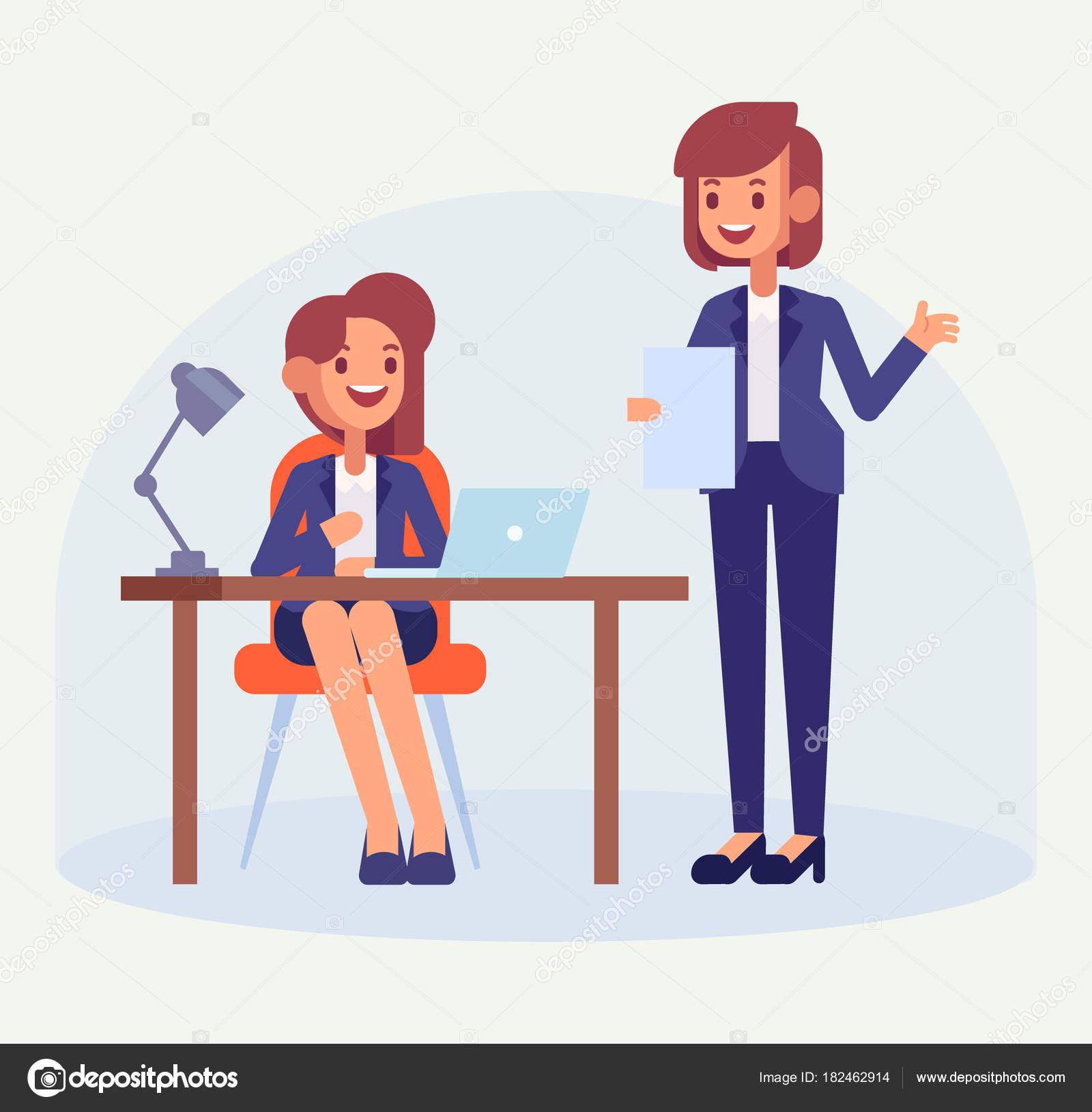 女性の上司とオフィス ワーカー 彼女の机で働く女性事務員 フラット