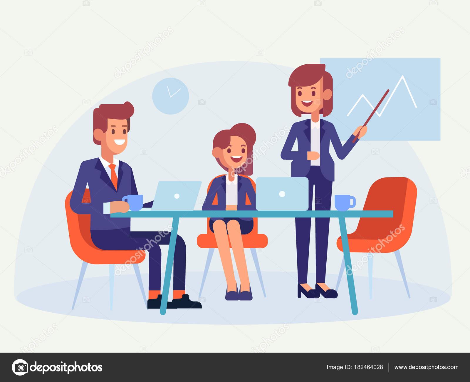 チームワーク ビジネス人に会う フラット スタイル ベクトル イラスト