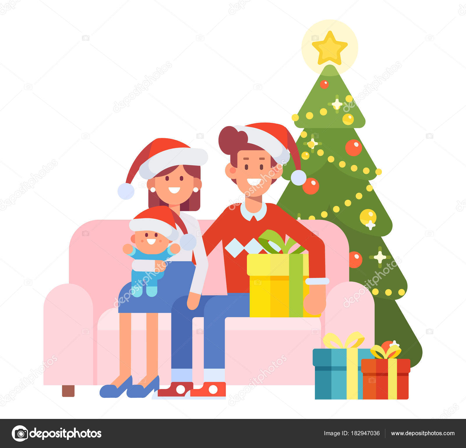 Buon Natale Famiglia.Buon Natale Anno Nuovo Famiglia Felice Insieme Mamma Papa Bambini