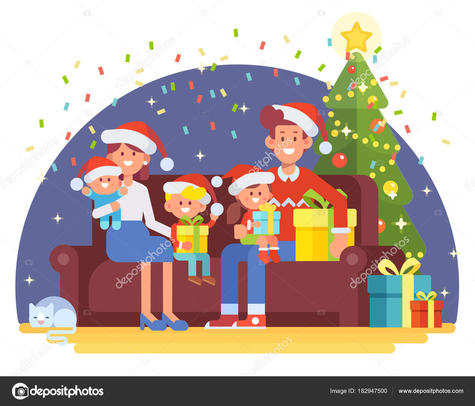 merry christmas new year happy family together mom dad children stock vector