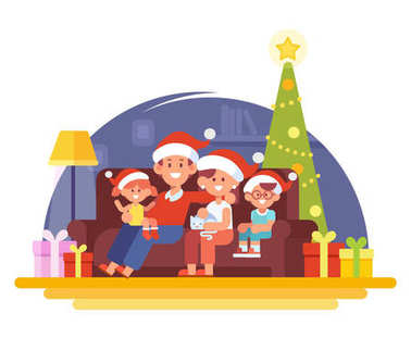 Merry Christmas and New Year. Happy family together. Mom, dad and children in santa hat. Cartoon style, Flat Vector illustration.