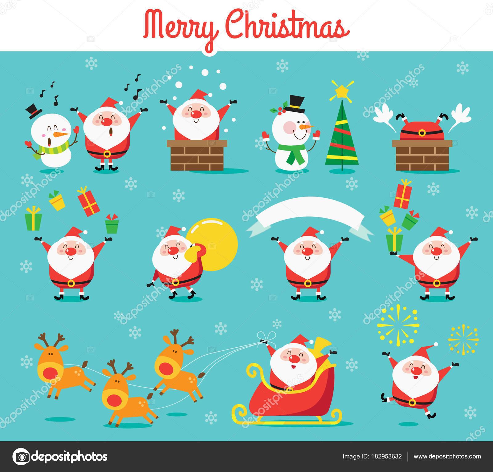 Christmas Celebration Cartoon Images.Santa Claus Cartoon Vector Set Merry Christmas Celebration