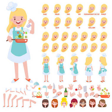 Front, side, back view animated character. Chef girl creation set with various views, hairstyles, face emotions, poses and gestures. Cartoon style, flat vector illustration.