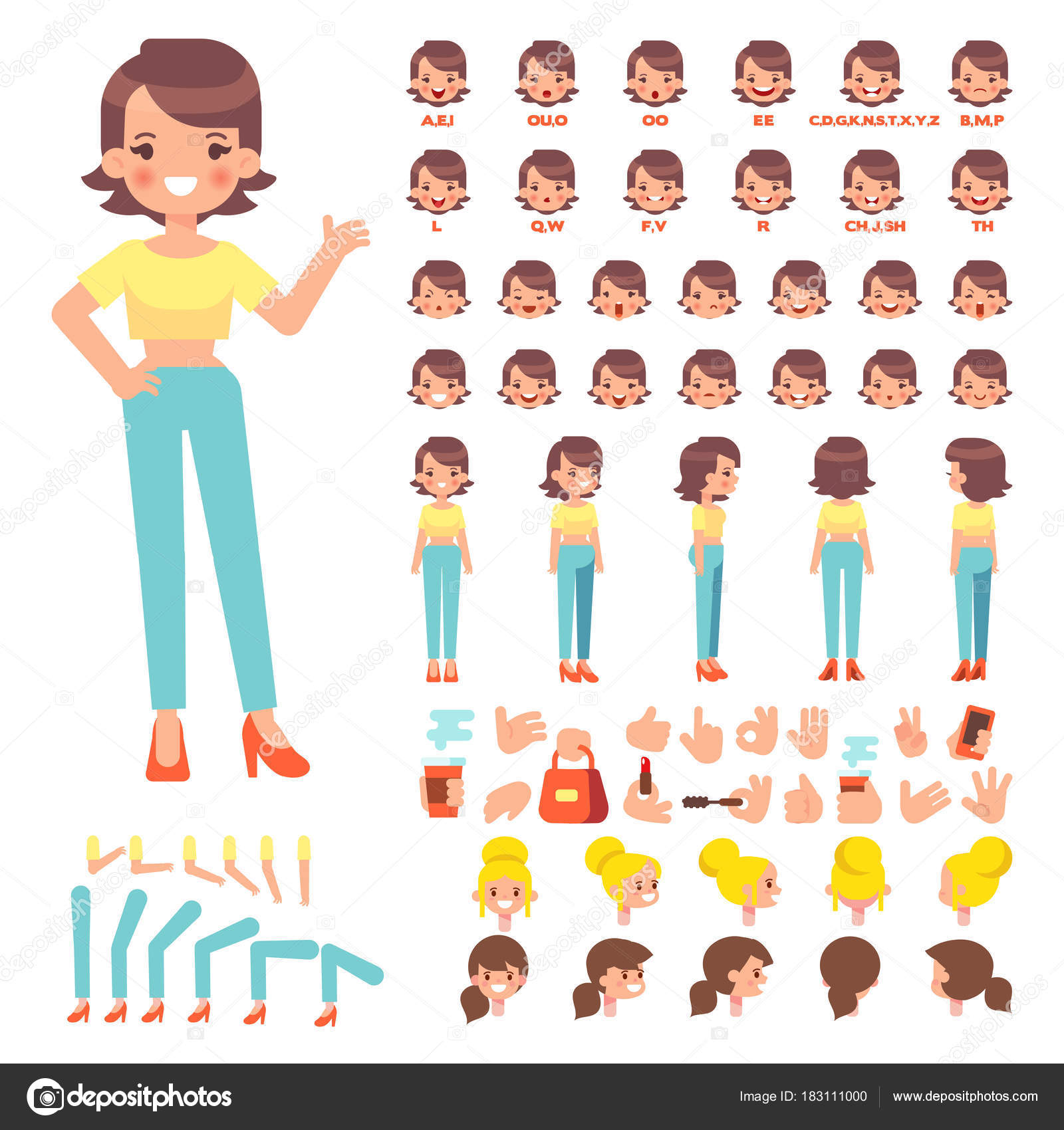 Front Side Back View Animated Character Pretty Young Woman Character