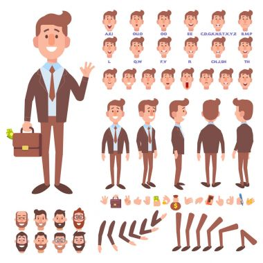 Front, side, back view animated character. Business man character creation set with various views, hairstyles, face emotions, poses and gestures. Cartoon style, flat vector illustration.