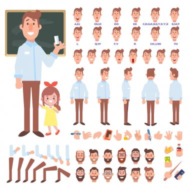 Male teacher creation set. Front, side, back, 3/4 view animated character. Separate parts of body. Constructor with various views, lip sync and gestures. Cartoon style, flat vector illustration. stock vector
