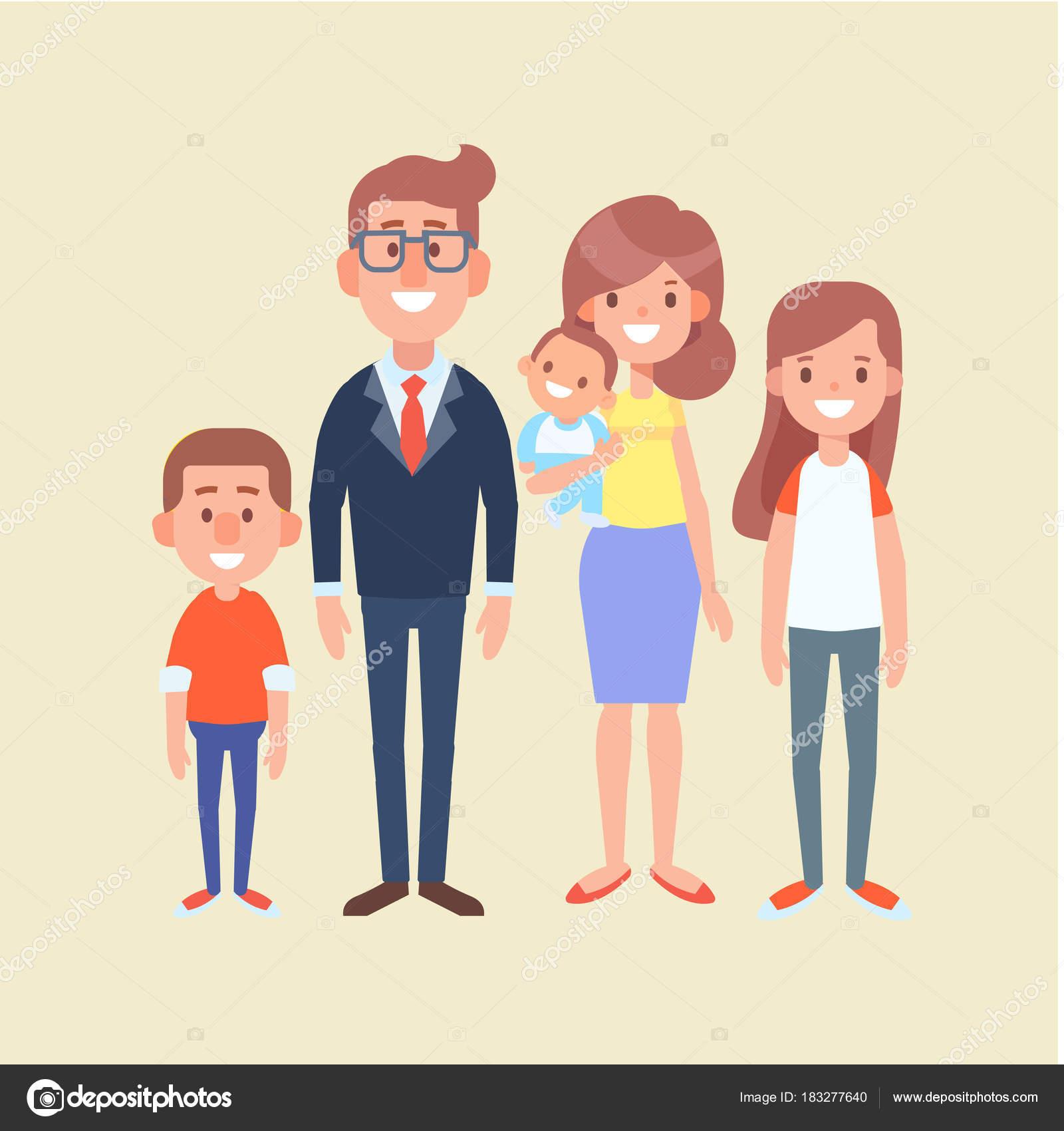Vector Family Together Flat Cartoon Design Illustration Stock Vector C Oksana L 183277640