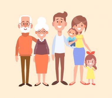 Happy family together - grandfather, grandmother, mom, dad, kids. Vector set of characters in a flat style good for animation. Cartoon style. clip art vector
