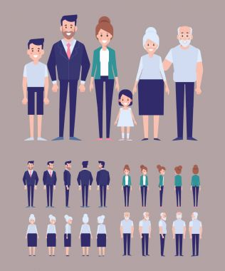 Family characters creation set - mom, dad, kids, grandfather, grandmother. Front, side, back view animated characters. Flat vector illustration. clip art vector
