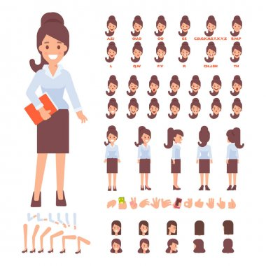Business lady character for your scenes. Character creation set with various views, face emotions, lip sync, poses and gestures. Parts of body template for design work and animation. stock vector