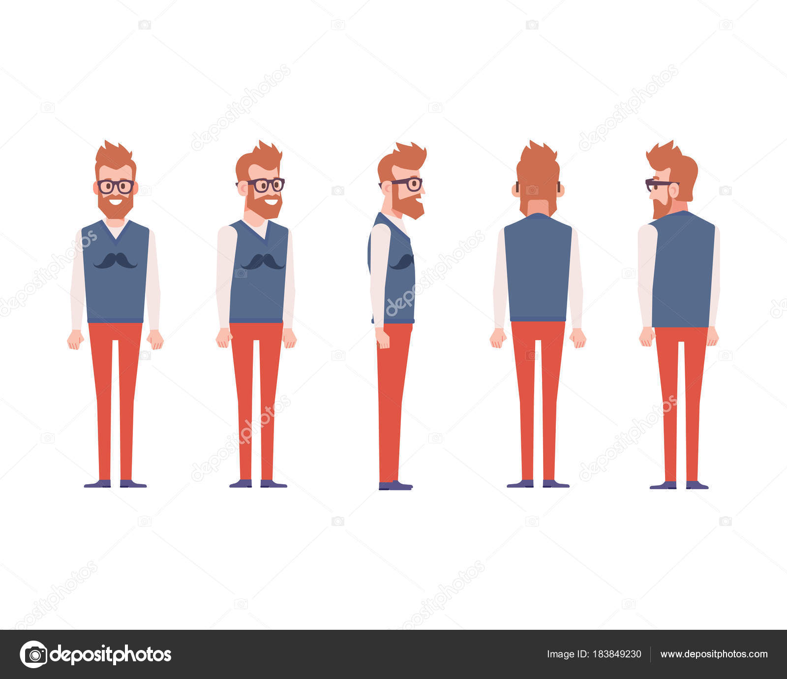 young man animation front side back view character separate parts