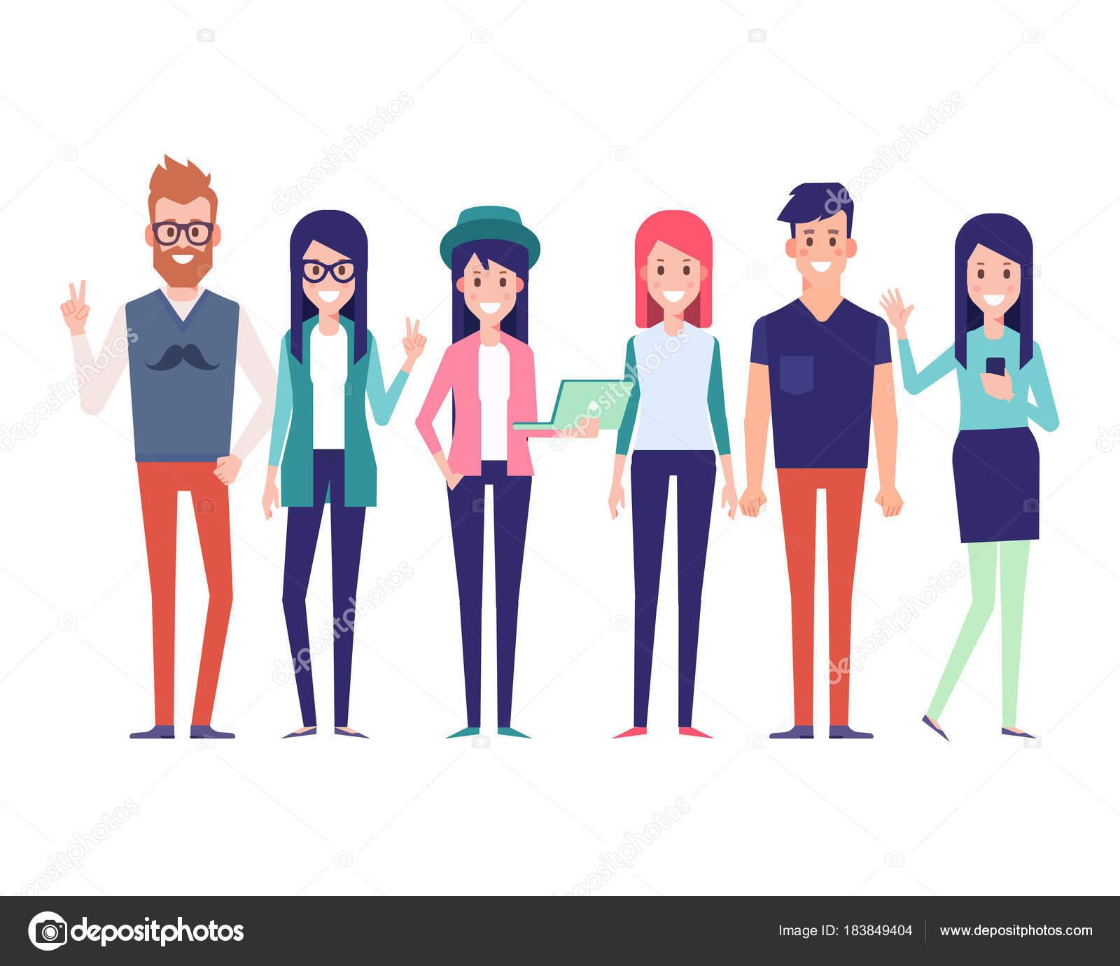Grupo Amigos Joven Inconformista Caracteres Del Ciudadano Urbano