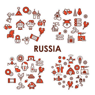 Russia vector icon set. Vector collection of Russian culture and nature.