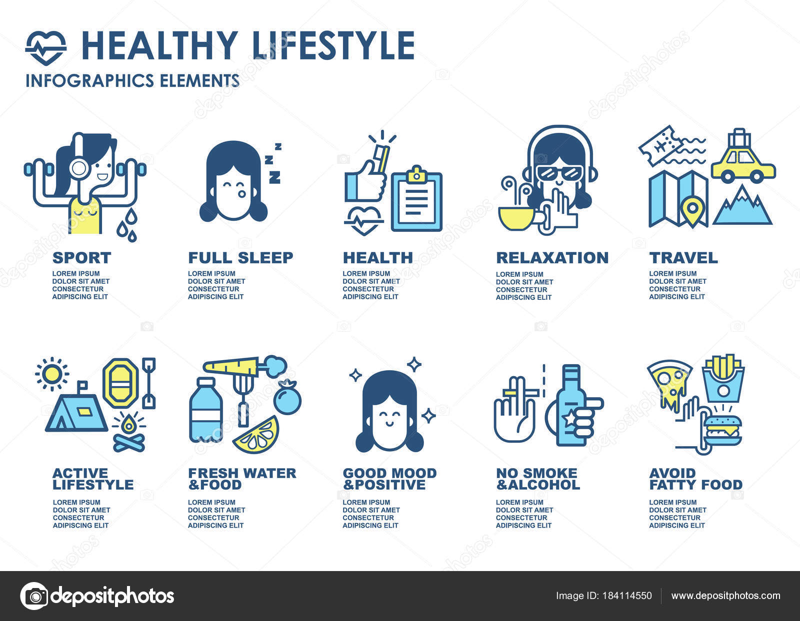 Sport Healthy Lifestyle Infographics Elements Advertising Banner Poster Different Sport Stock Vector C Oksana L 184114550