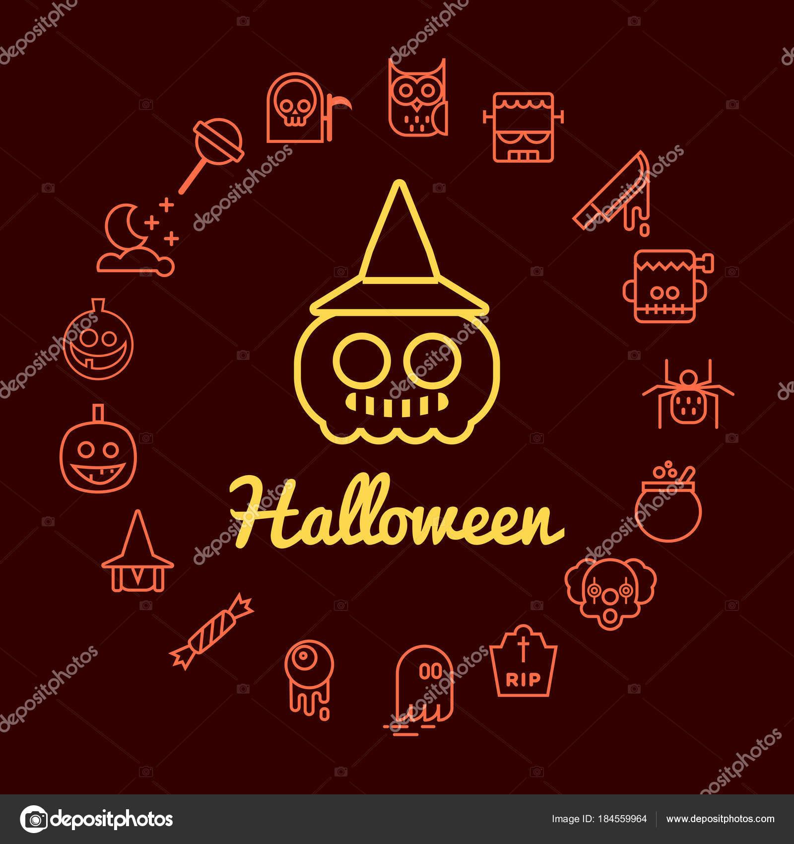 Los Iconos Línea Halloween Organizar Marco Del Círculo Ilustración ...