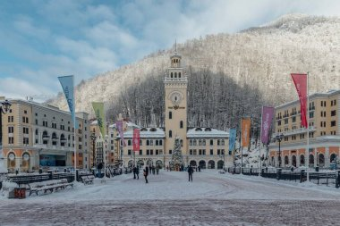 Rosa Khutor, Sochi, Russia, December 17, 2016: Winter in the mountains
